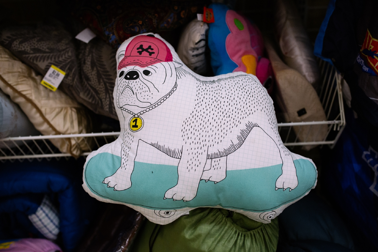 Dog riding a skateboard pillow. $1.99  Are you going to a White Elephant Gift Exchange this year? We headed to our local Value Village to give you some gift ideas and how much they cost. (Image: Joshua Lewis / Seattle Refined)