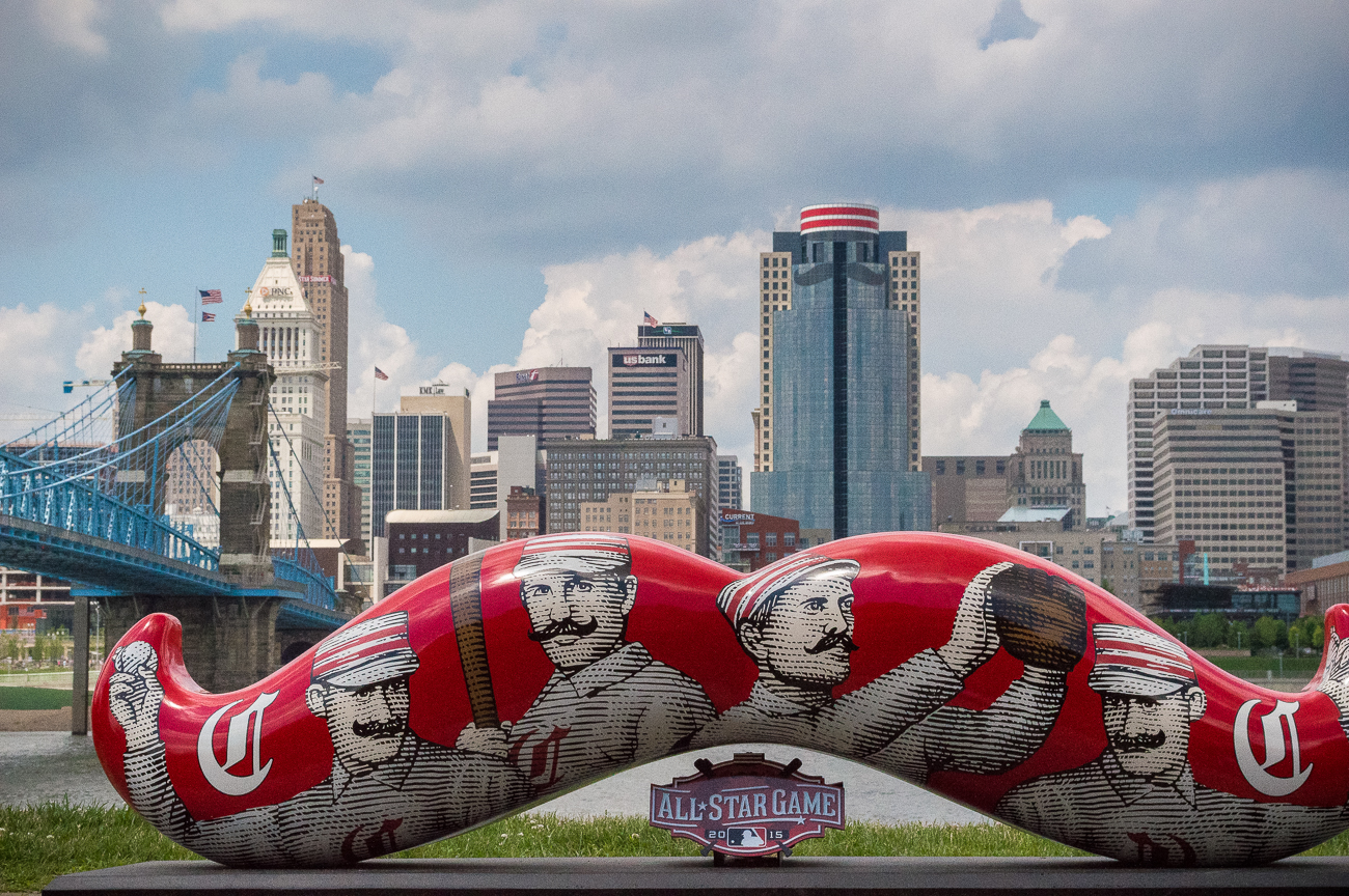 Julie Calvert spearheaded civic communications for the 2015 MLB's All-Star Game that was hosted in Cincinnati. This photo was from a regional event held the morning of the All-Star Game at the Roebling Bridge. / Image: Phil Armstrong, Cincinnati Refined // Published: 9.4.18