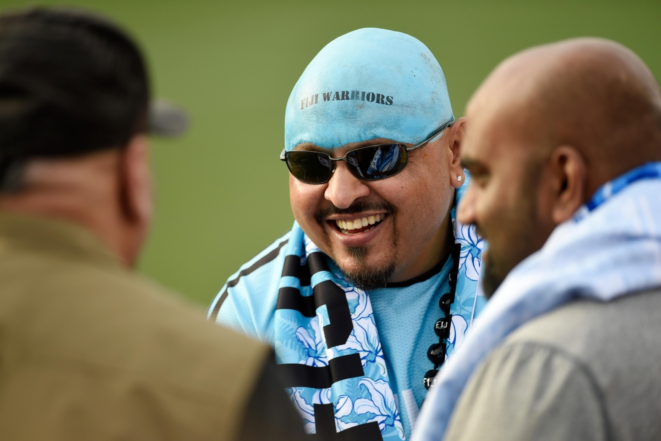 A fan of the Fiji side wears his team colors on his head during the USA Sevens rugby tournament Saturday, March 4, 2017, at Sam Boyd Stadium. [Sam Morris/Las Vegas News Bureau]