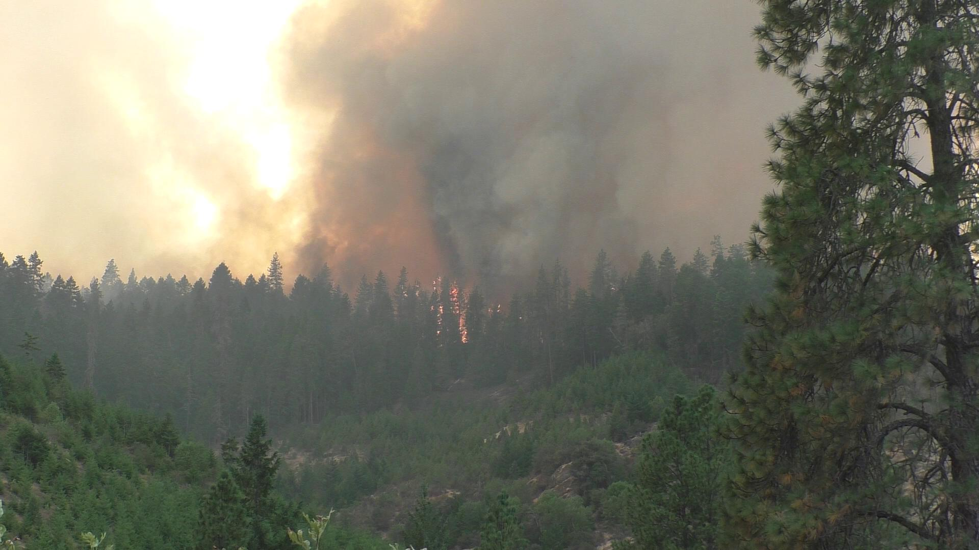 The Horse Prairie Fire on August 29, 2017. (Still from DFPA video)