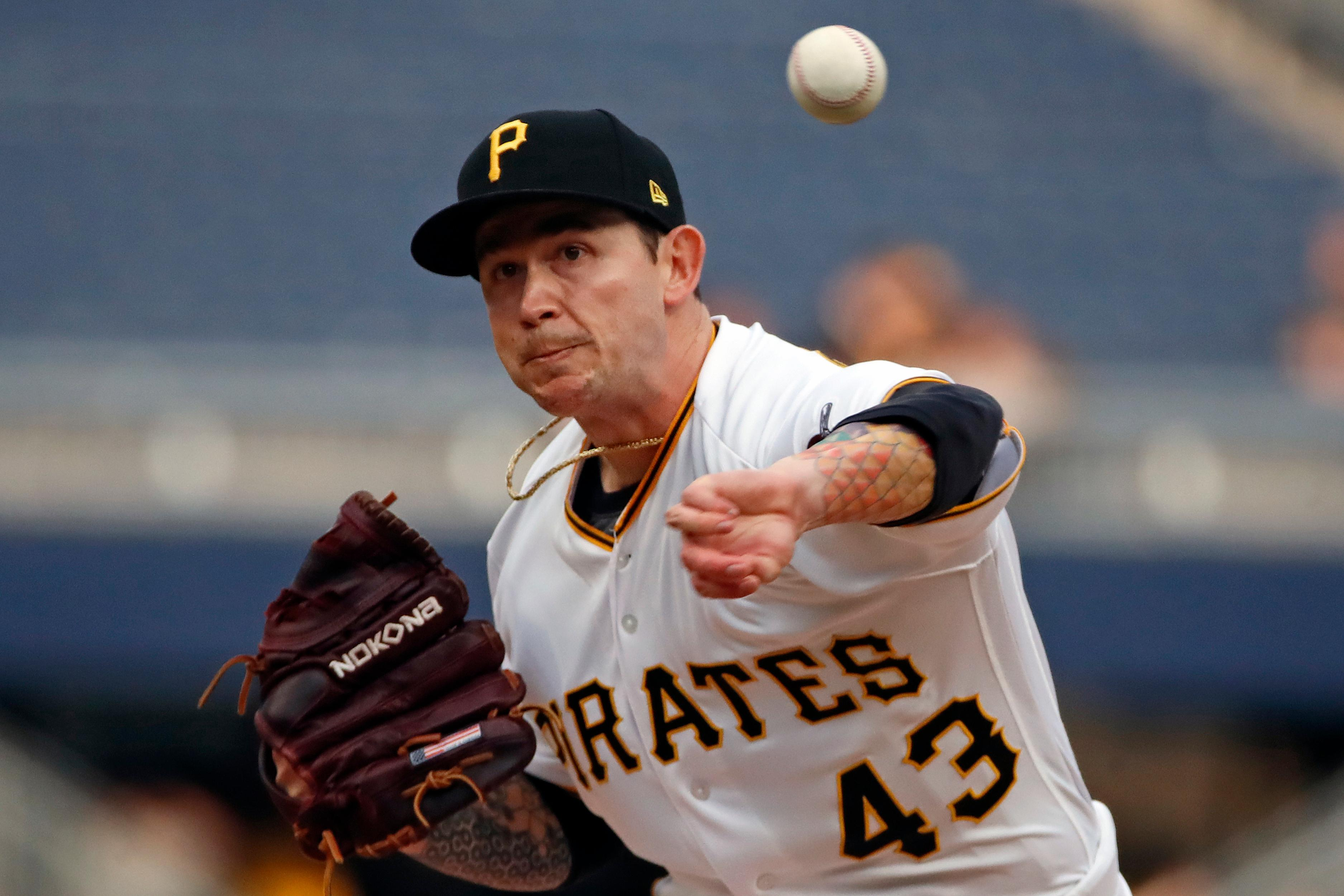 Pittsburgh Pirates starting pitcher Steven Brault delivers during the first inning of the team's baseball game against the Atlanta Braves in Pittsburgh, Tuesday, June 4, 2019. (AP Photo/Gene J. Puskar)