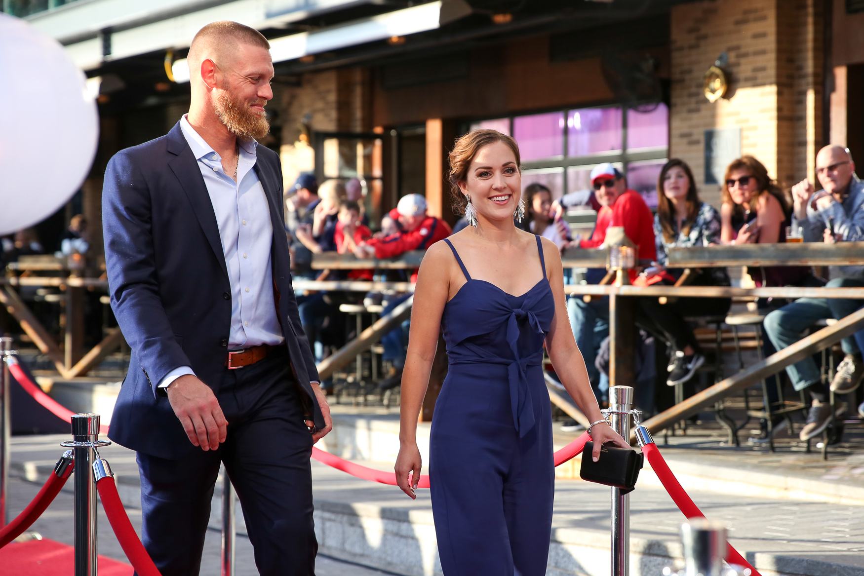 Stephen Strasburg and his wife{ }Rachel Lackey.{ }(Amanda Andrade-Rhoades/DC Refined)