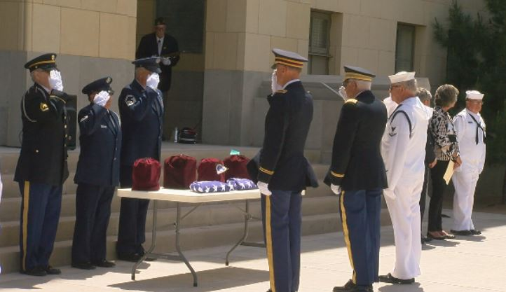 The four veterans receive a final salute before leaving Amarillo to be interred at the Sam Houston National Cemetery in San Antonio.  (By:  Steve Douglass, KVII)