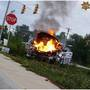 PHOTOS: Berkeley County police vehicle catches fire after crash, 3 transported to hospital