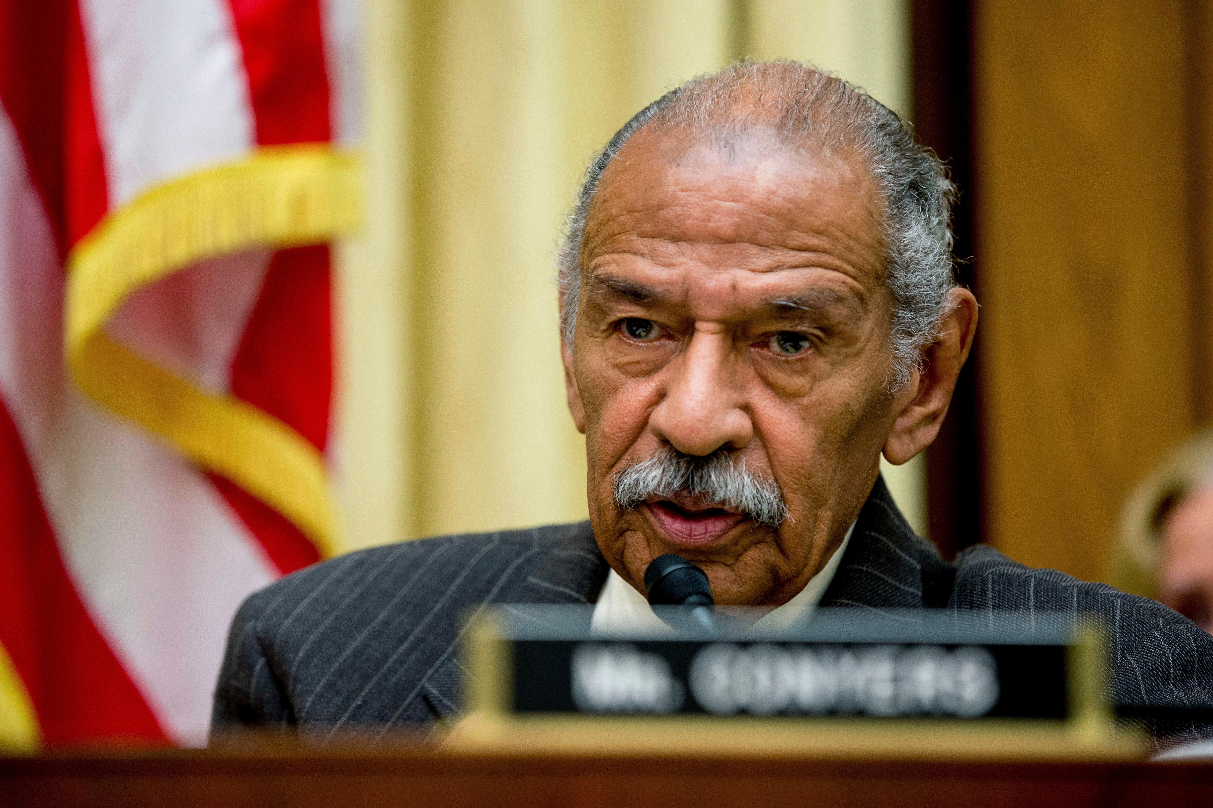 FILE - In this May 24, 2016, file photo, Rep. John Conyers, D-Mich., ranking member on the House Judiciary Committee, speaks on Capitol Hill in Washington during a hearing. (AP Photo/Andrew Harnik, File)