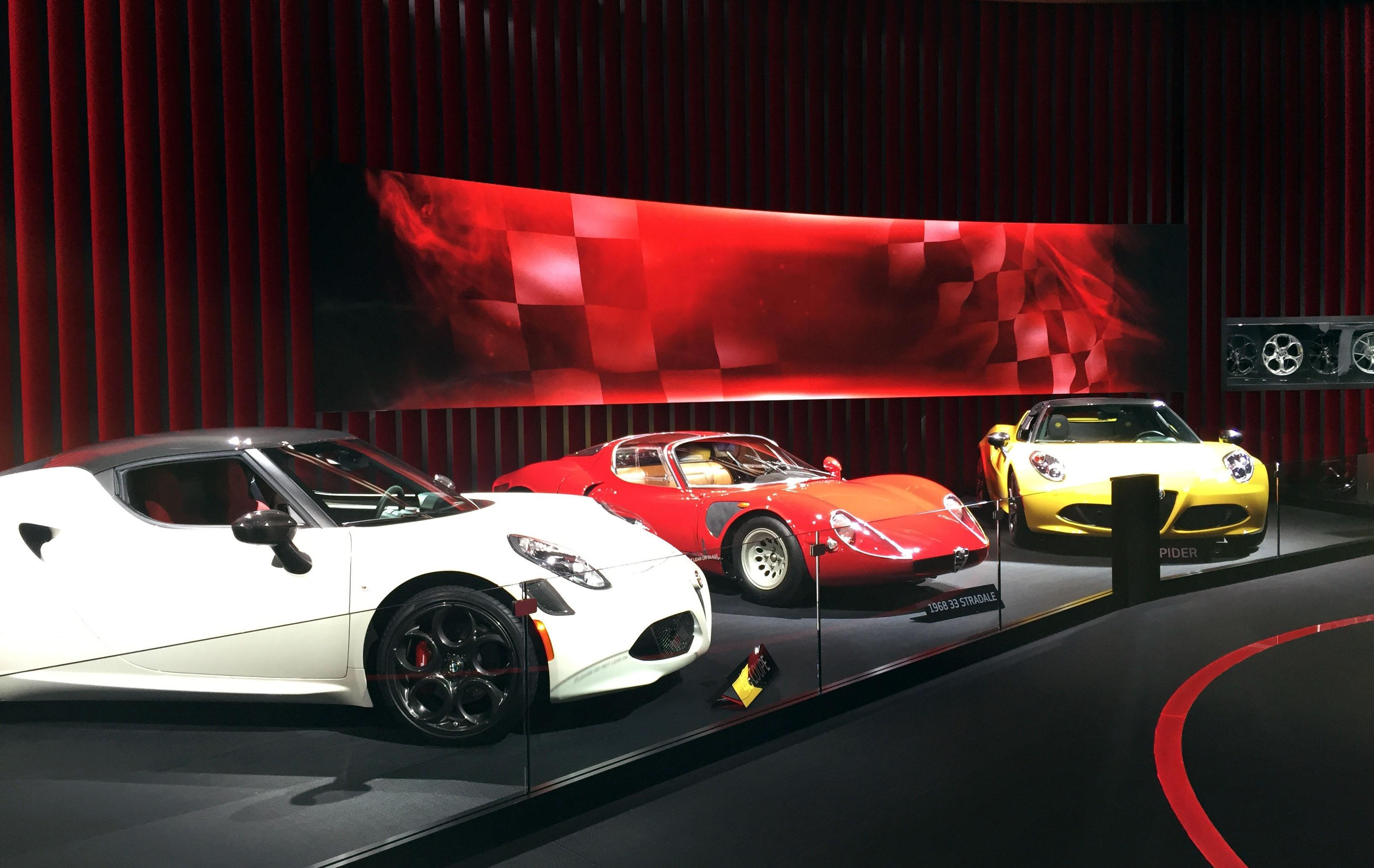 2016 Alfa Romeo 4C and the 1968 33 Stradale (center) (Photo by Jill Ciminillo)