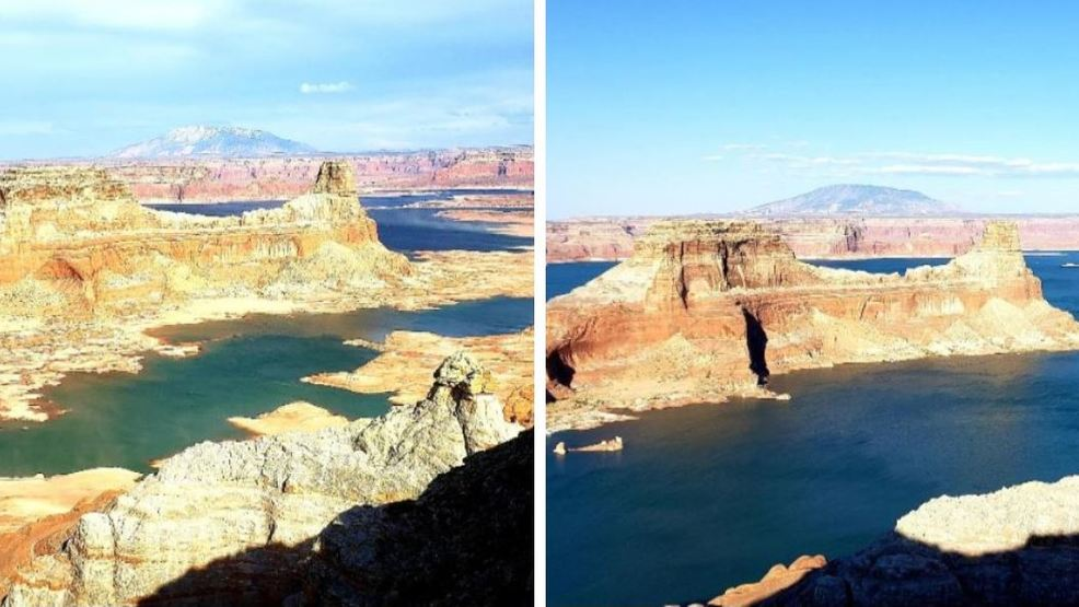 51-foot difference in water level at Lake Powell from increased runoff in last 3 months