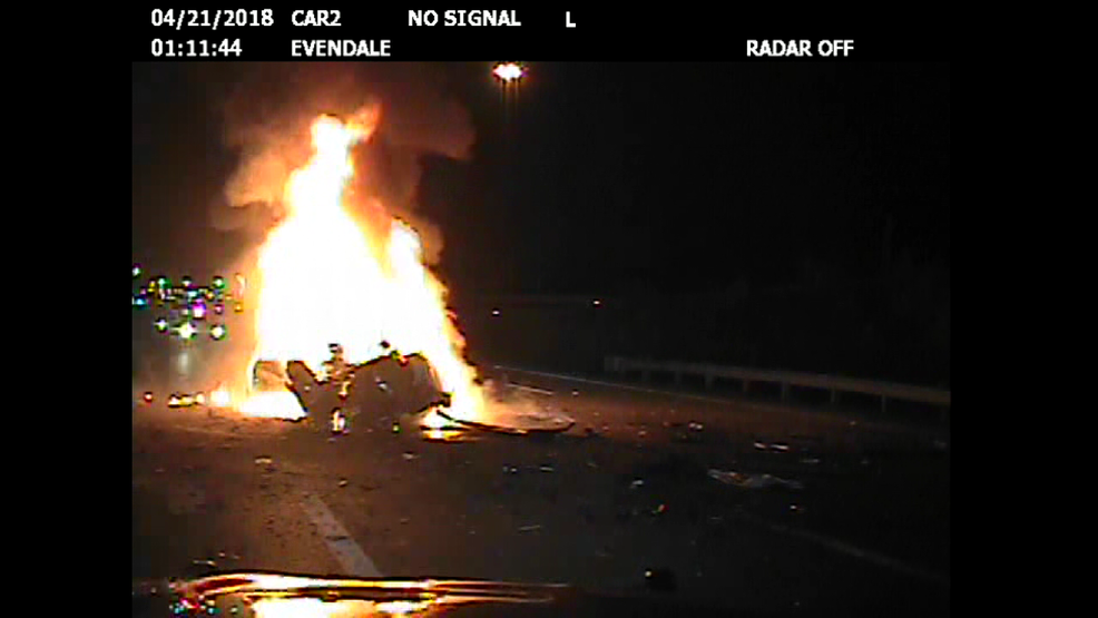 Dash cam video of high speed chase and fiery crash in