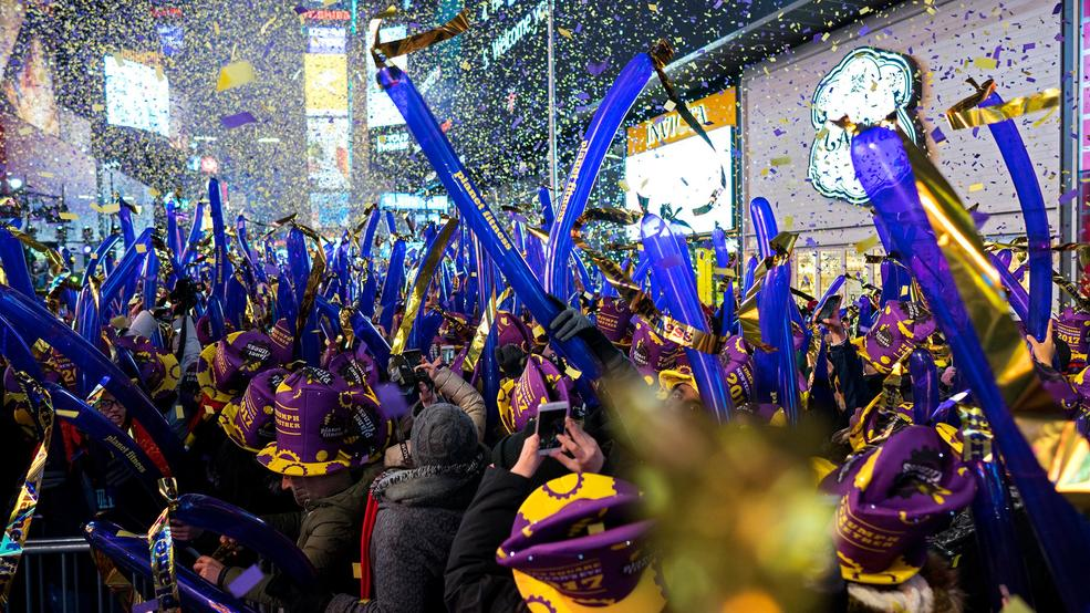 31 2016 file photo confetti falls during one of the hourly countdowns as revelers take part in a new years eve celebration in new yorks times square