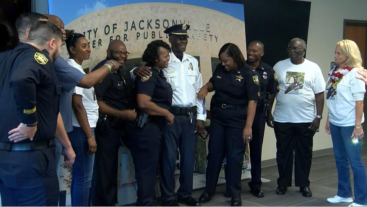 Jacksonville Police Officer X.Y. Brown is 90 and on Monday, a dedication ceremony was held for him.{ } (Merrilee Moore, NewsChannel 12 photo)