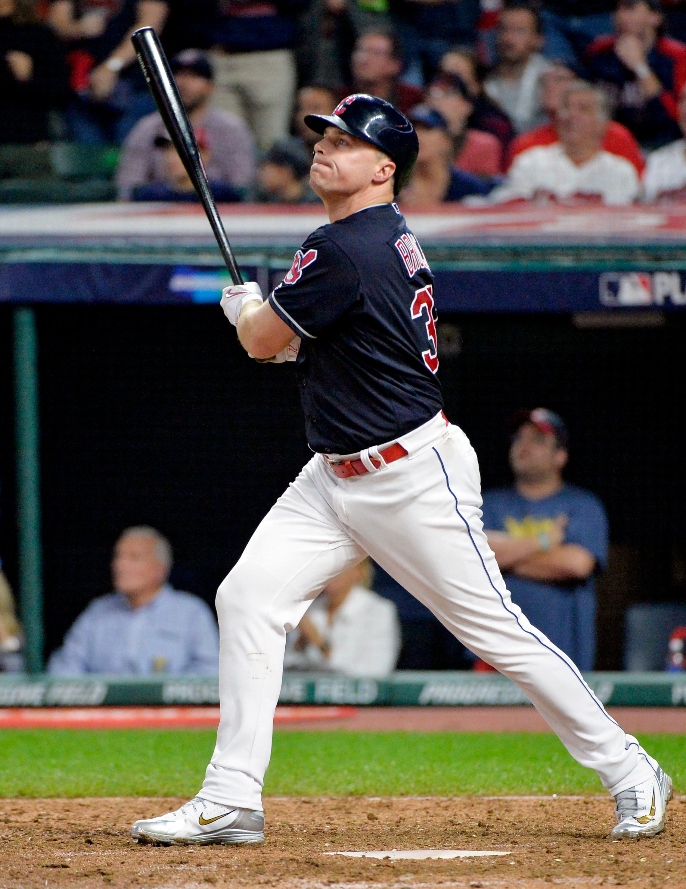 Cleveland Indians' Jay Bruce watches his solo home run off New York Yankees relief pitcher David Robertson during the eighth inning of Game 2 of a baseball American League Division Series, Friday, Oct. 6, 2017, in Cleveland. (AP Photo/Phil Long)