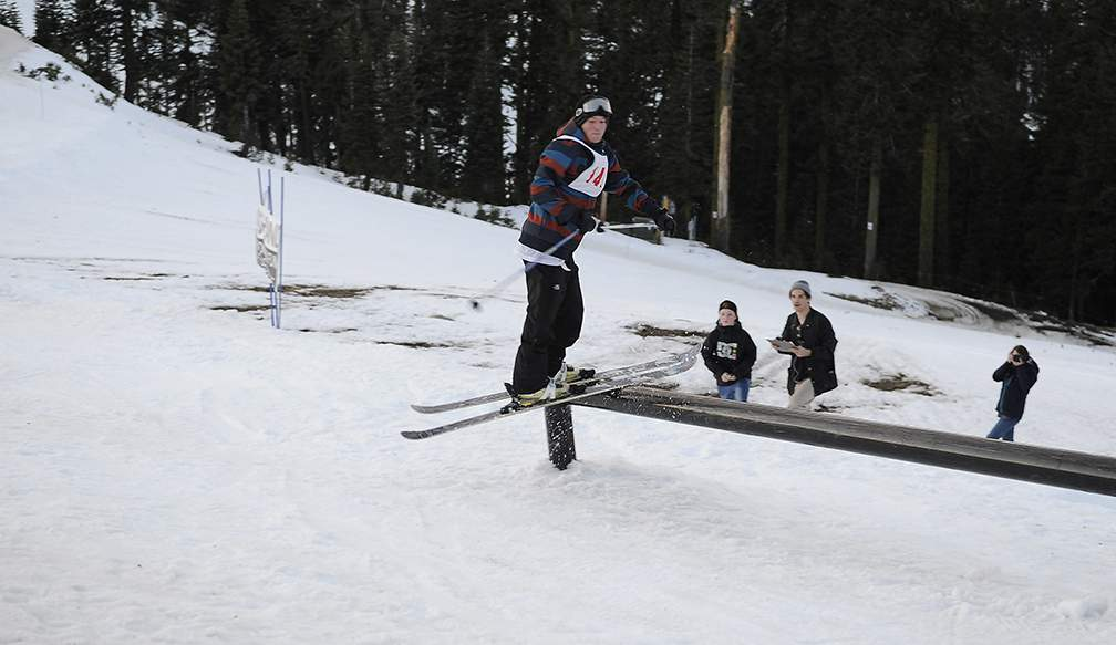 Skiers and snowboarders compete in the Midwinter Jam Series at Mt Ashland Friday evening 2-2-18. - Andy Atkinson