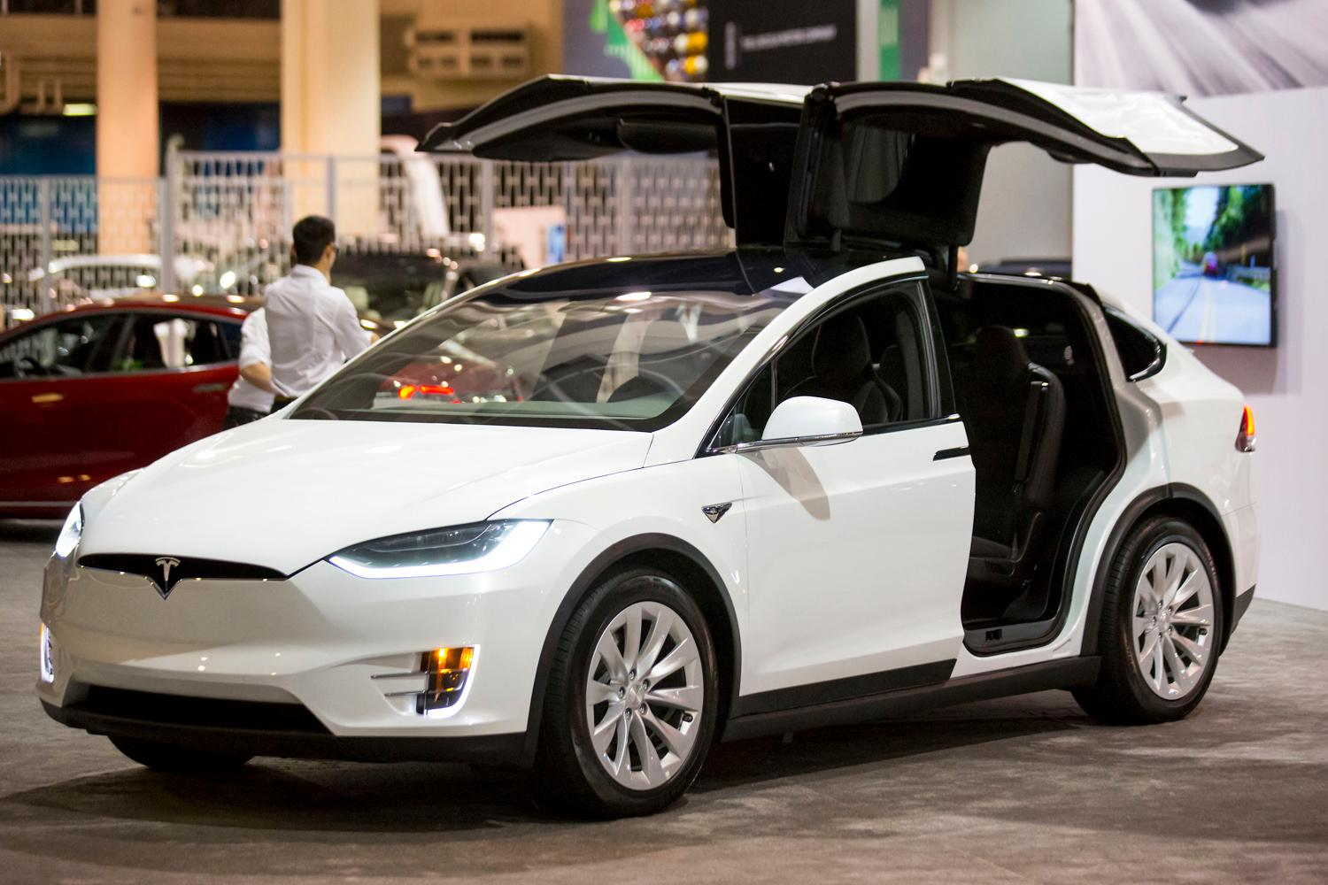 Tesla at the Seattle International Auto Show at the CenturyLink Event Center. (Sy Bean / Seattle Refined)