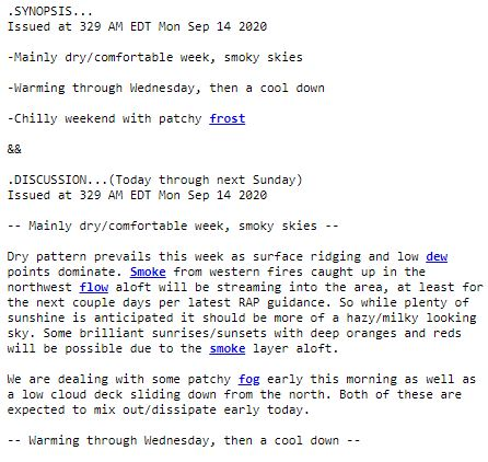 A National Weather Service meteorologist writes about smoky skies in West Michigan forecast discussion. (WWMT/Courtesy NWS Grand Rapids)