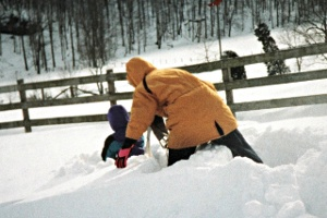 Trying to make a path through the snow. Brett & Lisa Barger