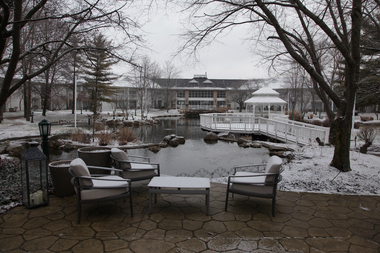The courtyard of the Cherry Valley Hotel in Newark includes a catch-and-release fishing pond. ADDRESS: 2299 Cherry Valley Road, Newark, OH (43055) / Image: Chez Chesak // Published: 2.12.21
