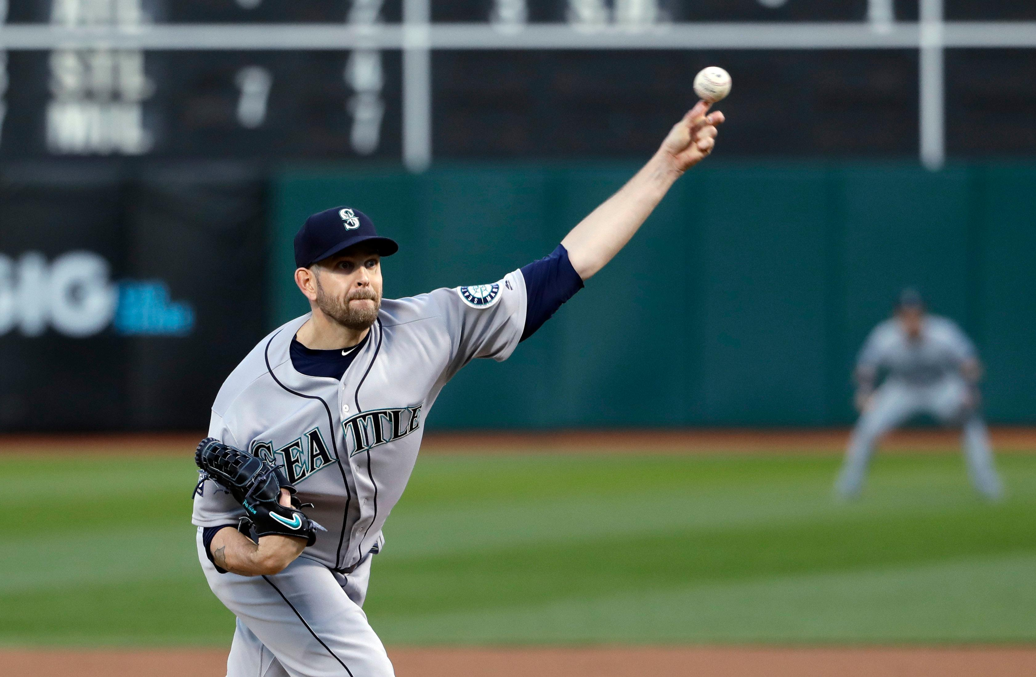 Seattle Mariners starting pitcher James Paxton throws to the Oakland Athletics during the first inning of a baseball game Thursday, April 20, 2017, in Oakland, Calif. (AP Photo/Marcio Jose Sanchez)