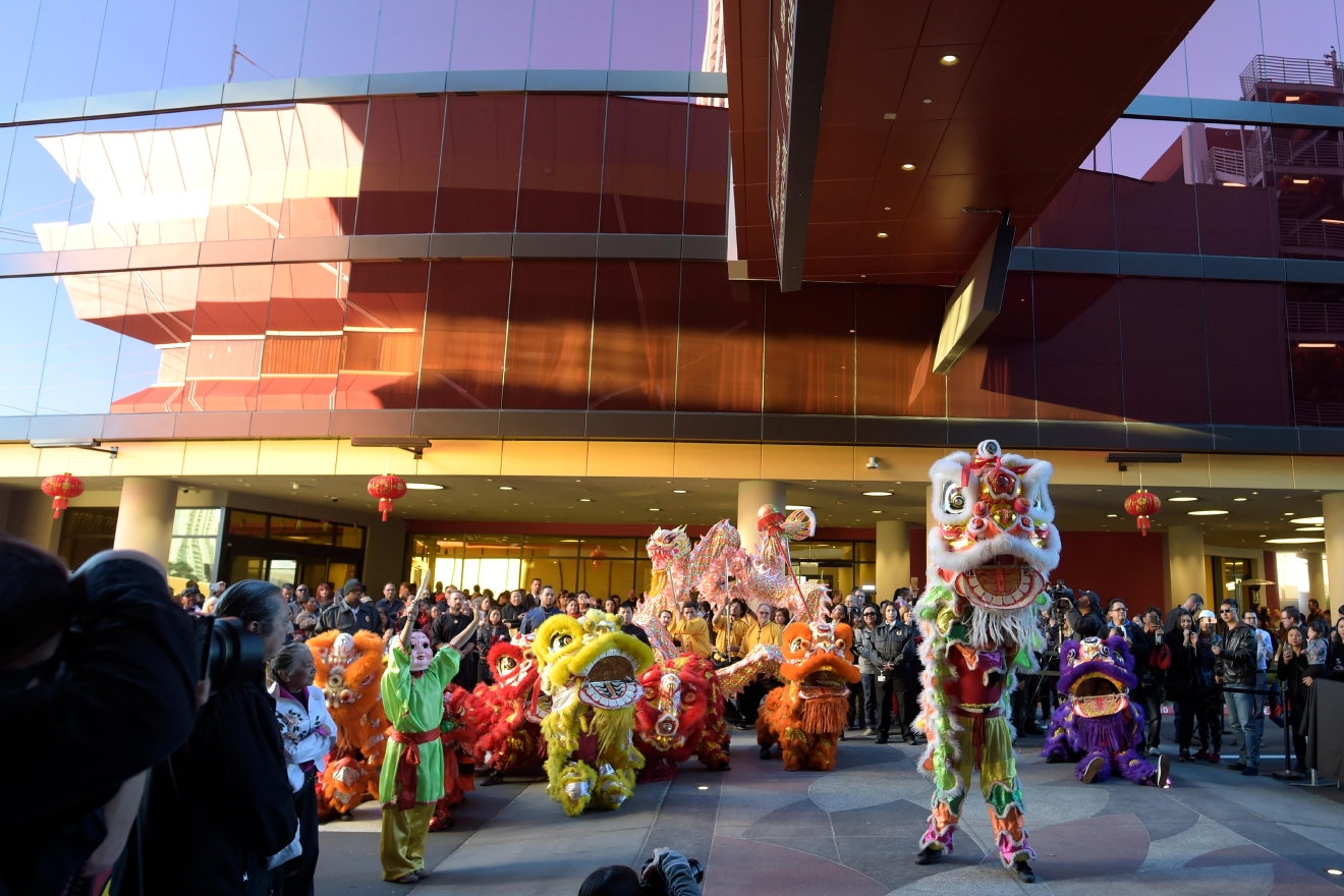 A lion dance is performed by members of the Lohan School of Shaolin during the grand opening of the Lucky Dragon Hotel and Casino Saturday, Dec. 3, 2016. (Sam Morris/Las Vegas News Bureau)