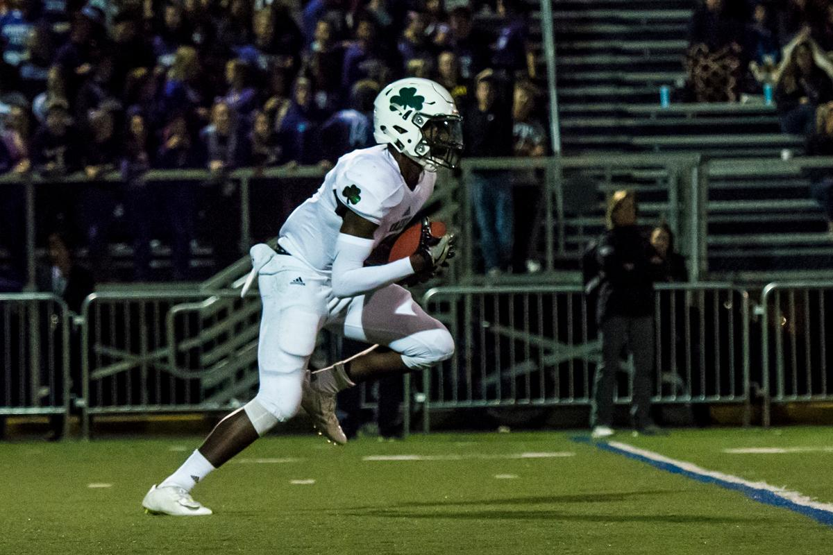 Sheldon Irish quarterback and defensive back Michael Johnson takes a kick return all the way for a touchdown against the South Eugene Axemen at South Eugene high school, October 6, 2017. ( Colin Houck/ For KVAL)