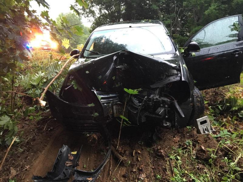 A 2008 Volkswagen Jetta was totaled after crashing into a tree in Damariscotta on Tuesday . (Damariscotta Police Department via Lincoln County News)