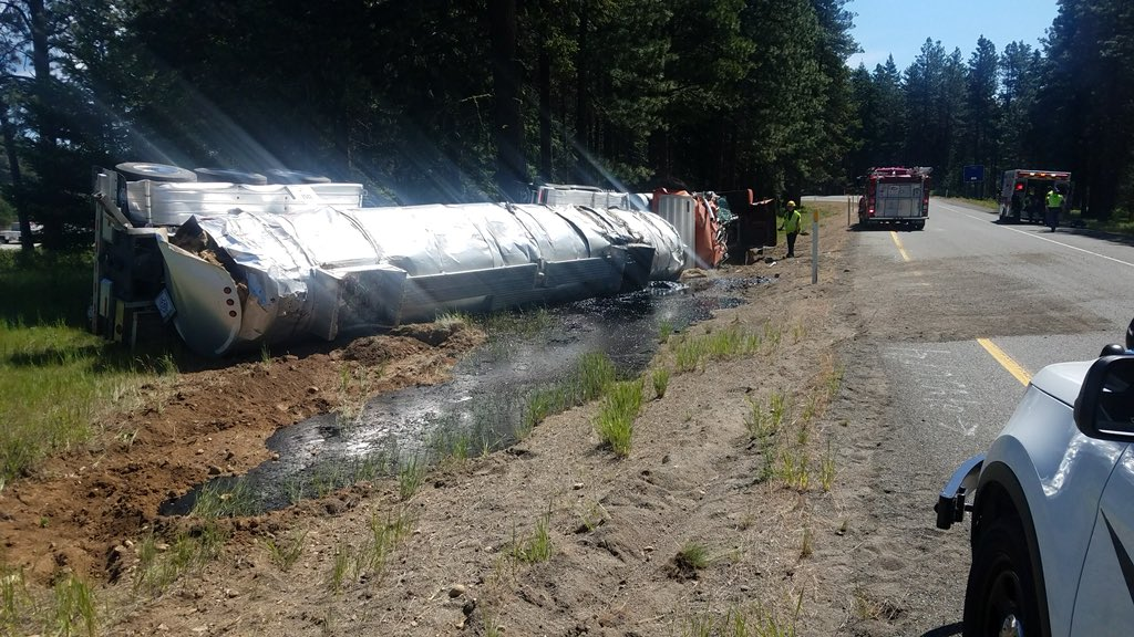 { }A rolled over tanker spilled about 7,000 gallons of liquid asphalt Wednesday morning near Cle Elum, according to Washington State Patrol.{ } (Photo courtesy WSP){ }