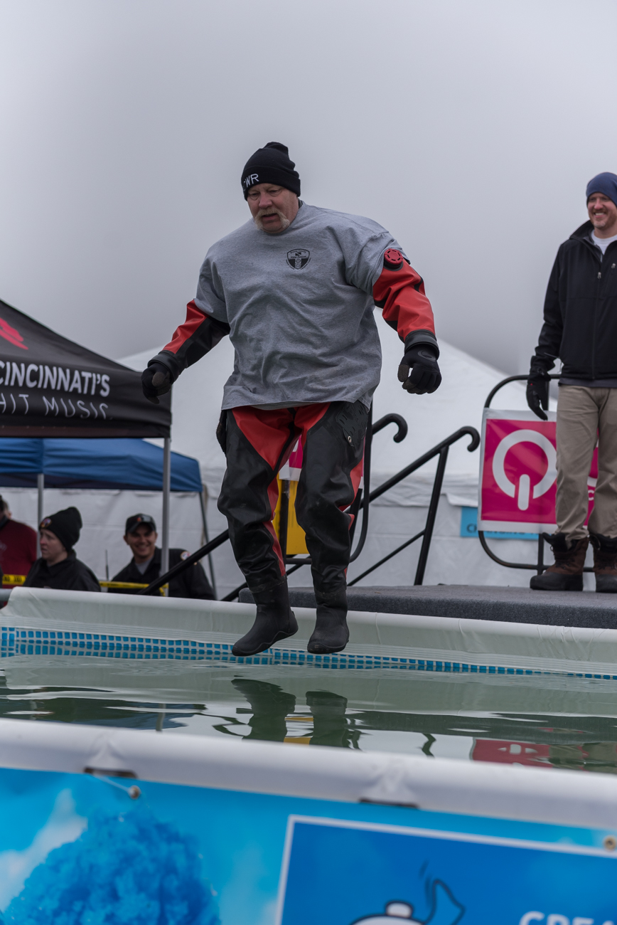 The Greater Cincinnati Polar Plunge was held on Saturday, February 2 at Joe's Crab Shack in Bellevue, KY. What was the purpose of willingly jumping into a pool of freezing cold water in the middle of winter? It benefited charity—specifically the Special Olympics. Participants were required to raise at least $75 to take the plunge, and proceeds went to the charity. Prizes were given to winners of certain categories, the likes of which included everything from top fundraiser to best costume. / Image: Mike Menke // Published: 2.3.19