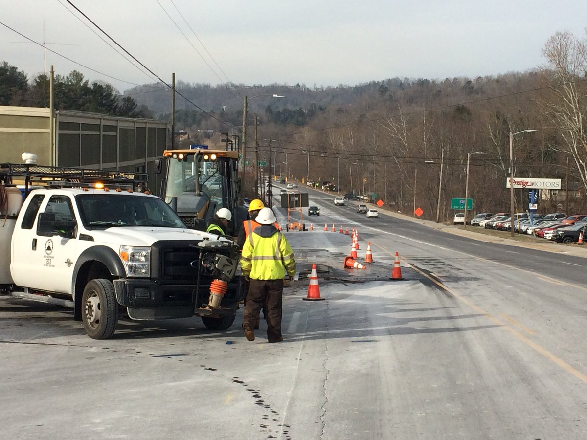 Traffic on Tunnel Road EB just east of I-240 is being forced into the median for repairs on a water main break. Customers in the area are without water. (Photo credit: WLOS Staff)