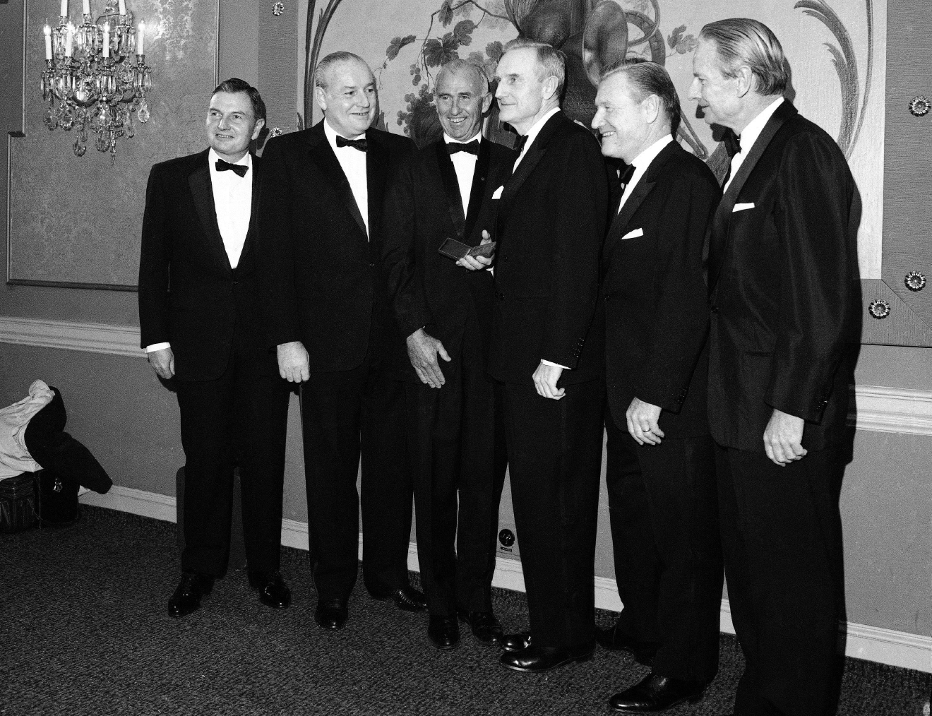 FILE - In this  Nov. 28, 1967 file photo, the five Rockefeller Brothers display smiles in New York as they gather to receive gold medals from the National Institute of social sciences. From left are: David Rockefeller, President of the Chase Manhattan Bank; Winthrop Rockefeller; Governor of Arkansas; Frank Pace, President of the NISS; John D. Rockefeller 3rd, Chairman of the Rockefeller Foundation; Nelson Rockefeller, Governor of New York; and Laurence Rockefeller, a conservation adviser to President Johnson. The billionaire philanthropist who was the last of his generation in the famously philanthropic Rockefeller family has died. David Rockefeller was 101 years old. (AP Photo, File)