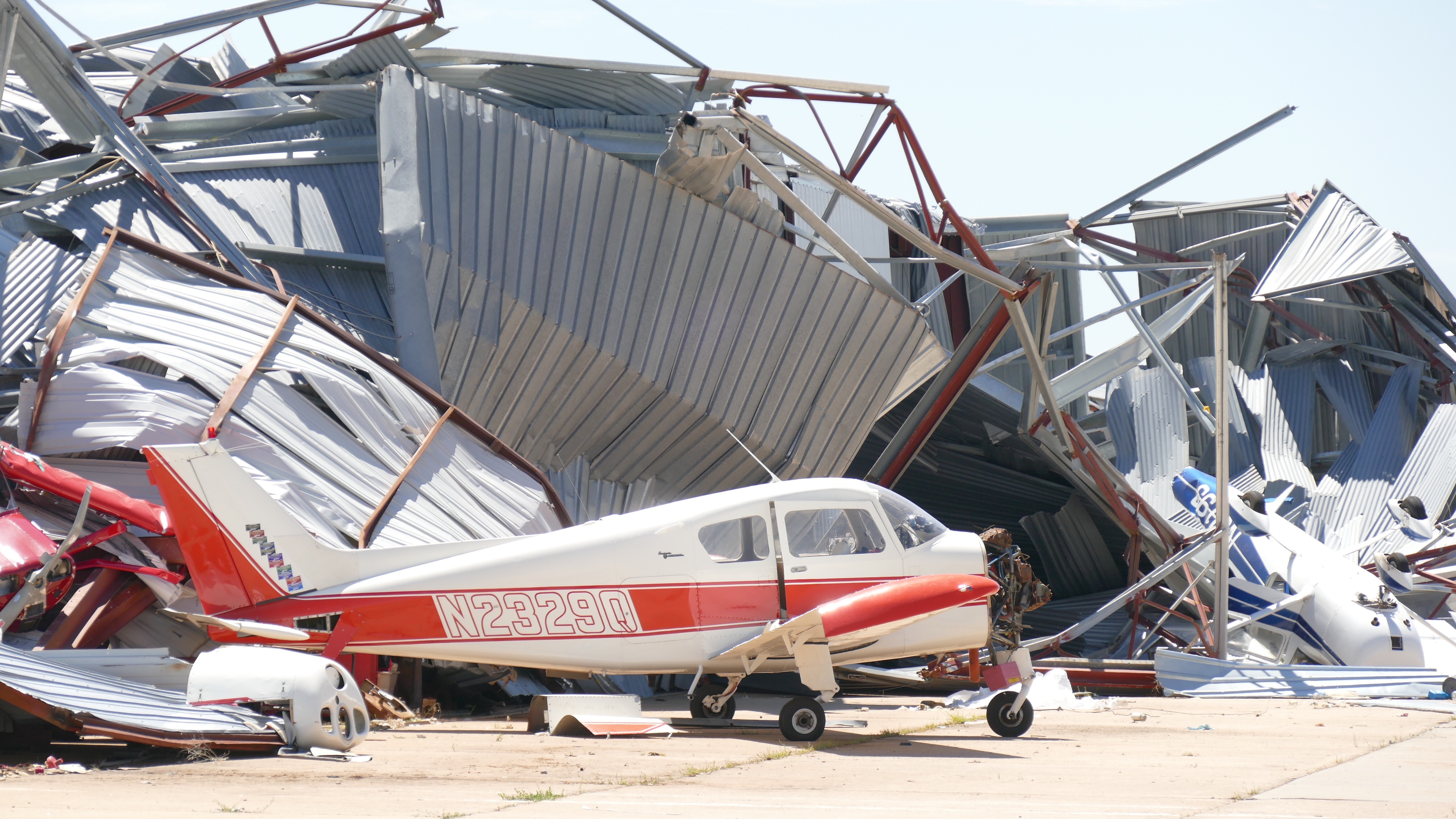 Possible straight line winds caused severe damage to the Dalhart Airport. (ABC 7 Amarillo - Steve Douglass)