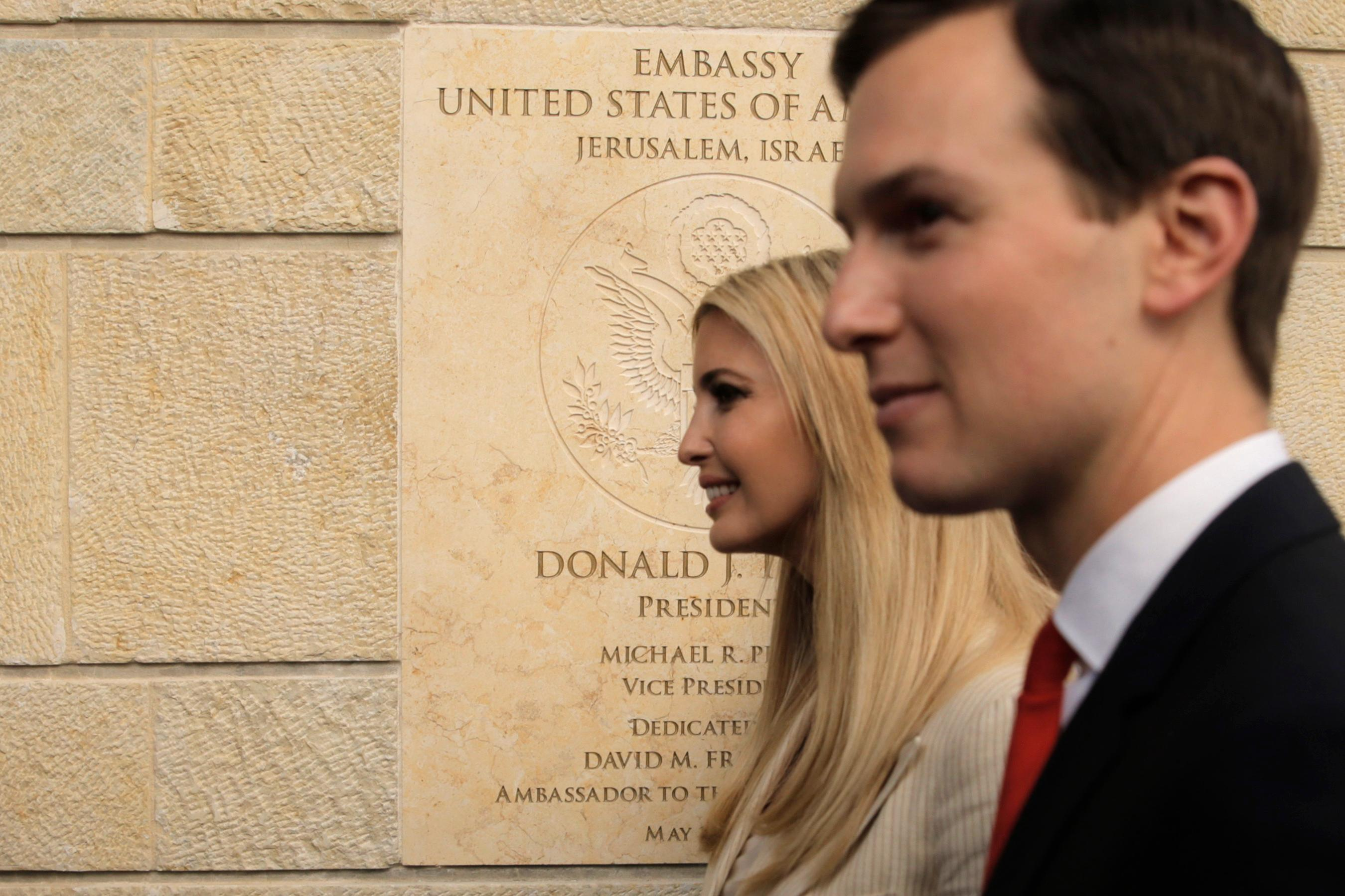 U.S. President Donald Trump's daughter Ivanka, left, and White House senior adviser Jared Kushner attends the opening ceremony of the new U.S. Embassy in Jerusalem, Monday, May 14, 2018. Amid deadly clashes along the Israeli-Palestinian border, President Donald Trump's top aides and supporters on Monday celebrated the opening of the new U.S. Embassy in Jerusalem as a campaign promised fulfilled. (AP Photo/Sebastian Scheiner)