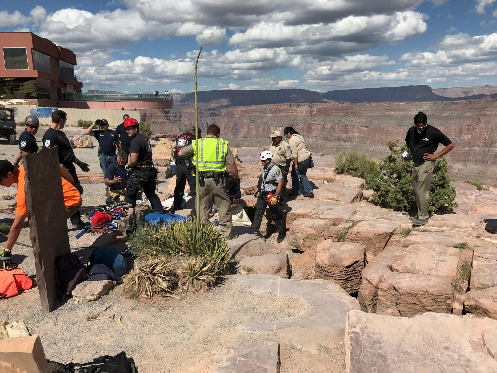 Mohave County Sheriff's Search and Rescue Units deploy a rope rescue Tuesday, April 18, 2017, at Grand Canyon West near the Skywalk. (Photo courtesy of Mohave County Sheriff's Office)