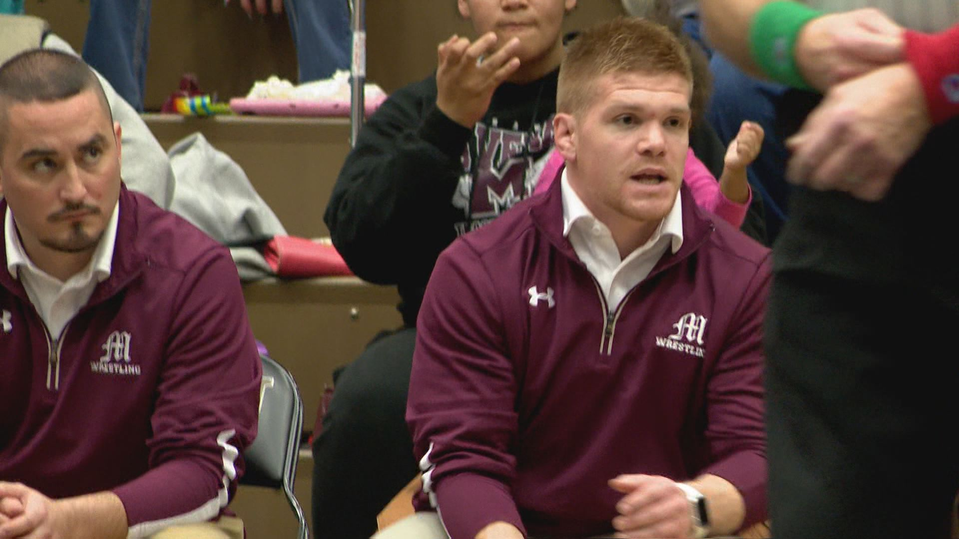New Mishawaka wrestling coach Steve Sandefer, leading the Cavemen against rival Penn tonight on the wrestling mat in the Backyard Brawl // WSBT 22 Photo<p></p>