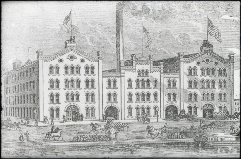 The Windisch-Muhlhauser Brewing Co., known colloquially as the Lion Brewery, sat on the site of the present-day Cincinnati Ballet building at 1555 Central Parkway. When it was built shortly after the end of the Civil War, it sat along the Miami & Erie Canal. Though most of it was destroyed over the years, sections of the former brewery remain. The cellars that were used to store beer found another purpose after the Ballet moved in. Today, the cellars are used to preserve the Ballet's archive of costumes. / Image courtesy of the digital archive of The Public Library of Cincinnati and Hamilton County // Published: 12.11.18