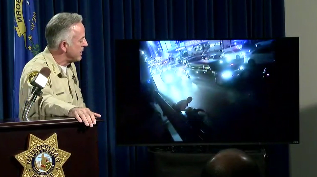 In a rare press conference, Sheriff Joe Lombardo personally explained what led officers to chase and detain NFL star Michael Bennett. (KSNV/LVMPD)