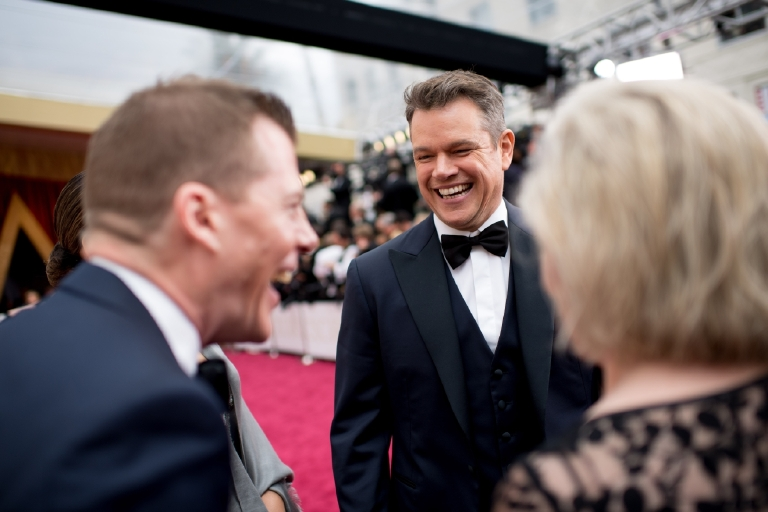 Matt Damon, Oscar® nominee, arrives on the red carpet of The 89th Oscars® at the Dolby® Theatre in Hollywood, CA on Sunday, February 26, 2017. (A.M.P.A.S.)