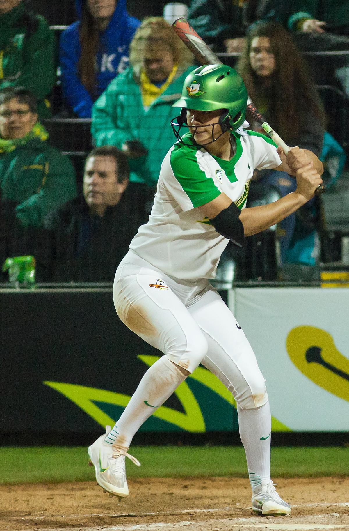 An Oregon batter winds up to hit the ball. In the first of a three game series the Oregon Ducks defeated the California Golden Bears five to one. Photo by Ben Lonergan, Oregon News Lab