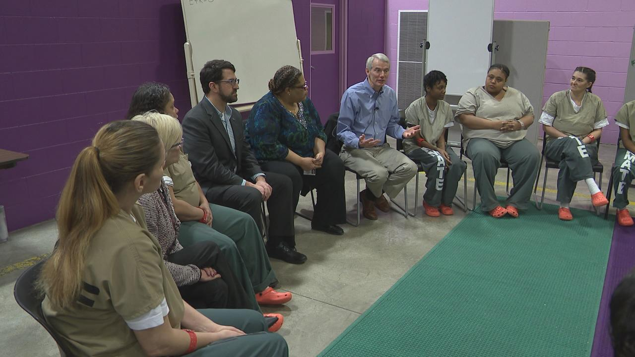 Sen. Rob Portman (R - Ohio) toured the Franklin County Jail Thursday to see a program aimed at helping women get their lives back on track. The Pathways program targets women with drug addiction issues who have been jailed multiple times and provides them with counseling. (WSYX/WTTE){ }