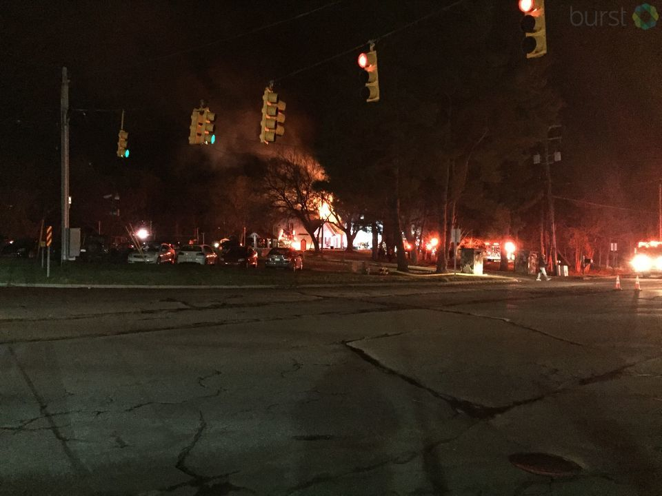 A fire started around 9 p.m. at the Sigma Nu fraternity house at 1570 Flushing road, according to a resident of the home. (Photo: WEYI/WSMH)