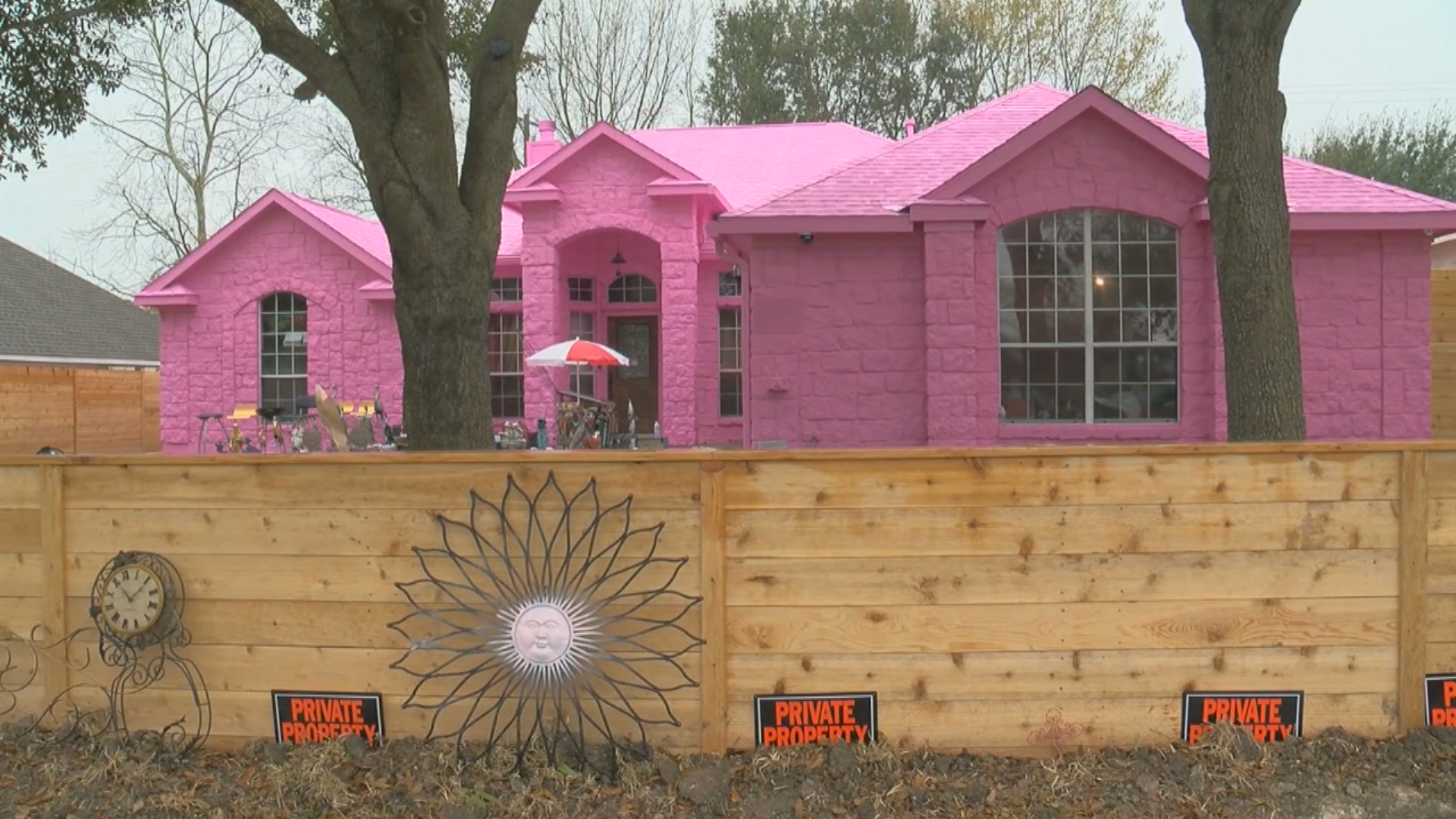 In a Pflugerville{ } subdivision spring flowers aren't the only thing that is pink. (CBS Austin)