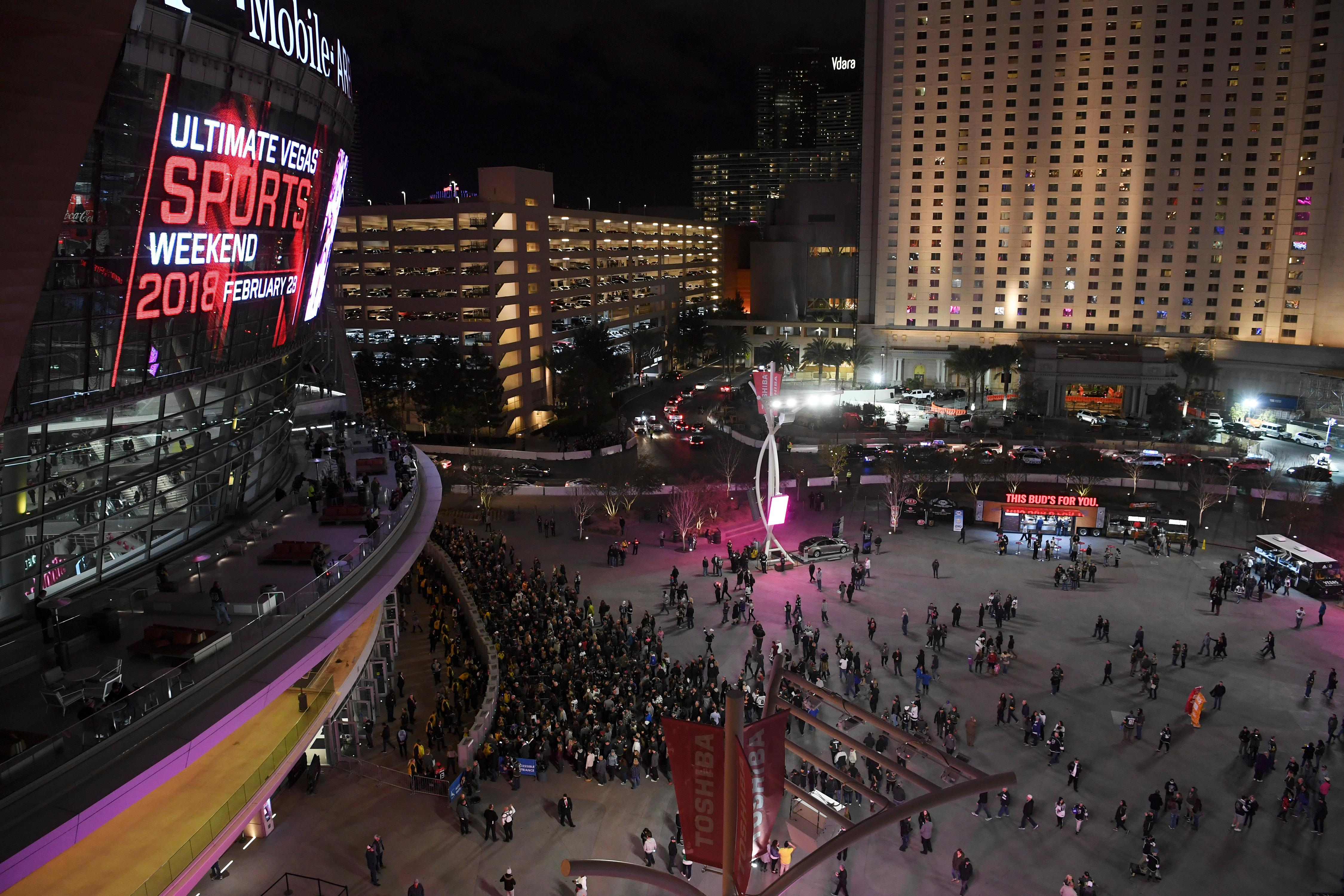 Fans line up at the entrance before the Vegas Golden Knights NHL hockey game against the Los Angeles Kings Tuesday, February 27, 2018, at T-Mobile Arena in Las Vegas. Los Angeles won 4-1. CREDIT: Sam Morris/Las Vegas News Bureau