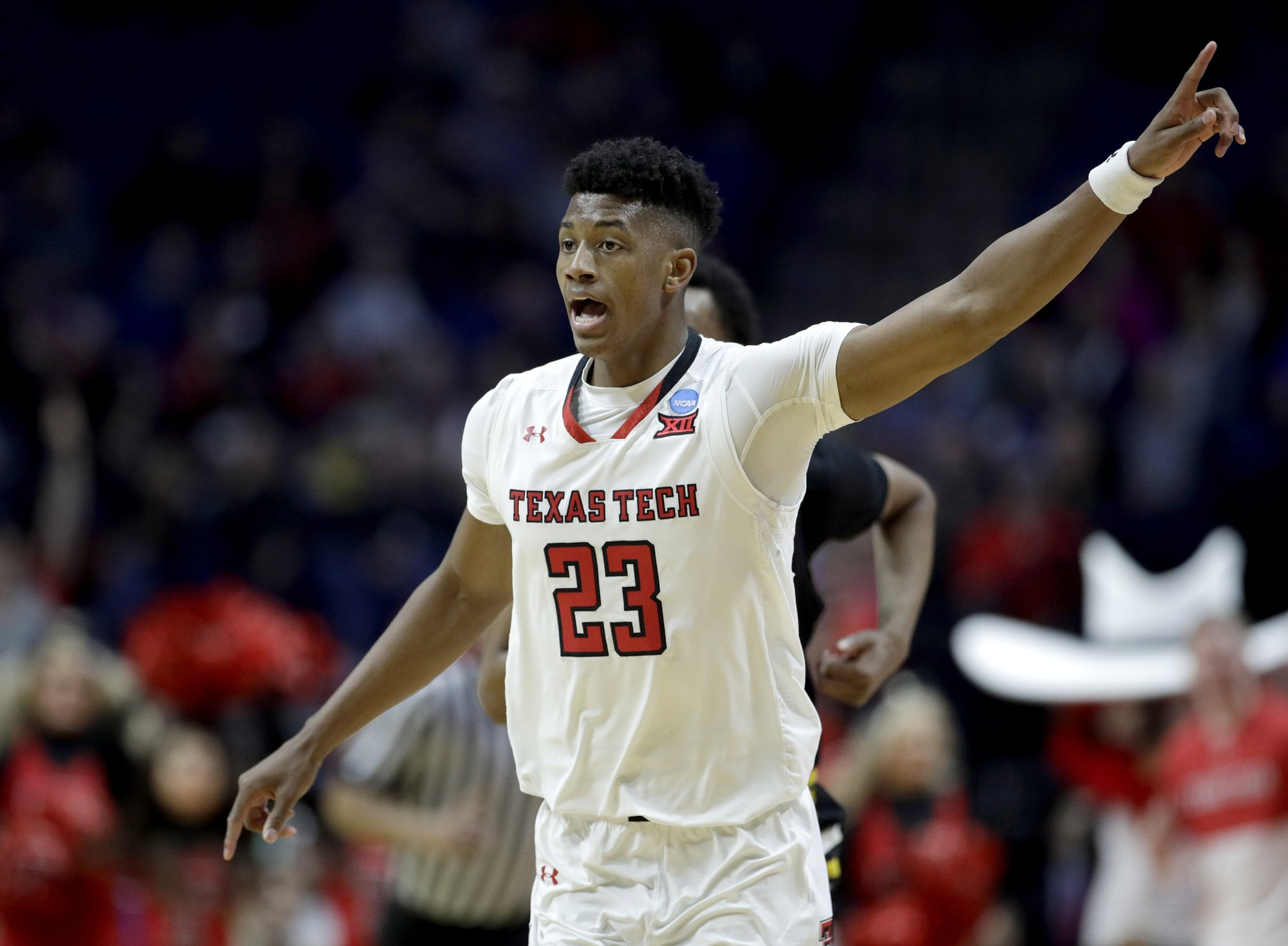 Texas Tech's Jarrett Culver celebrates after a basket during the second half of a first-round men's college basketball game against Northern Kentucky in the NCAA Tournament Friday, March 22, 2019, in Tulsa, Okla. Texas Tech won 72-57. (AP Photo/Charlie Riedel)