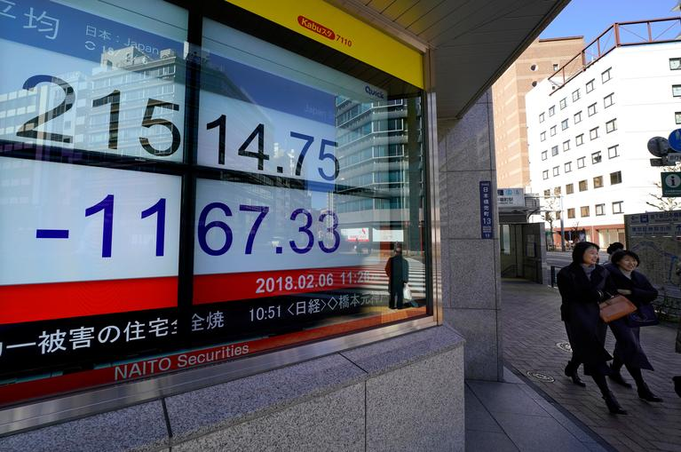 People walk past an electronic stock indicator of the Nikkei 225 of a securities firm in Tokyo, Tuesday, Feb. 6, 2018. Shares tumbled in Asia on Tuesday after a wild day for U.S. markets that resulted in the biggest drop in the Dow Jones industrial average in six and a half years.  Japan's Nikkei 225 index dropped as much as 5.6 percent in early trading Tuesday. (AP Photo/Shizuo Kambayashi)