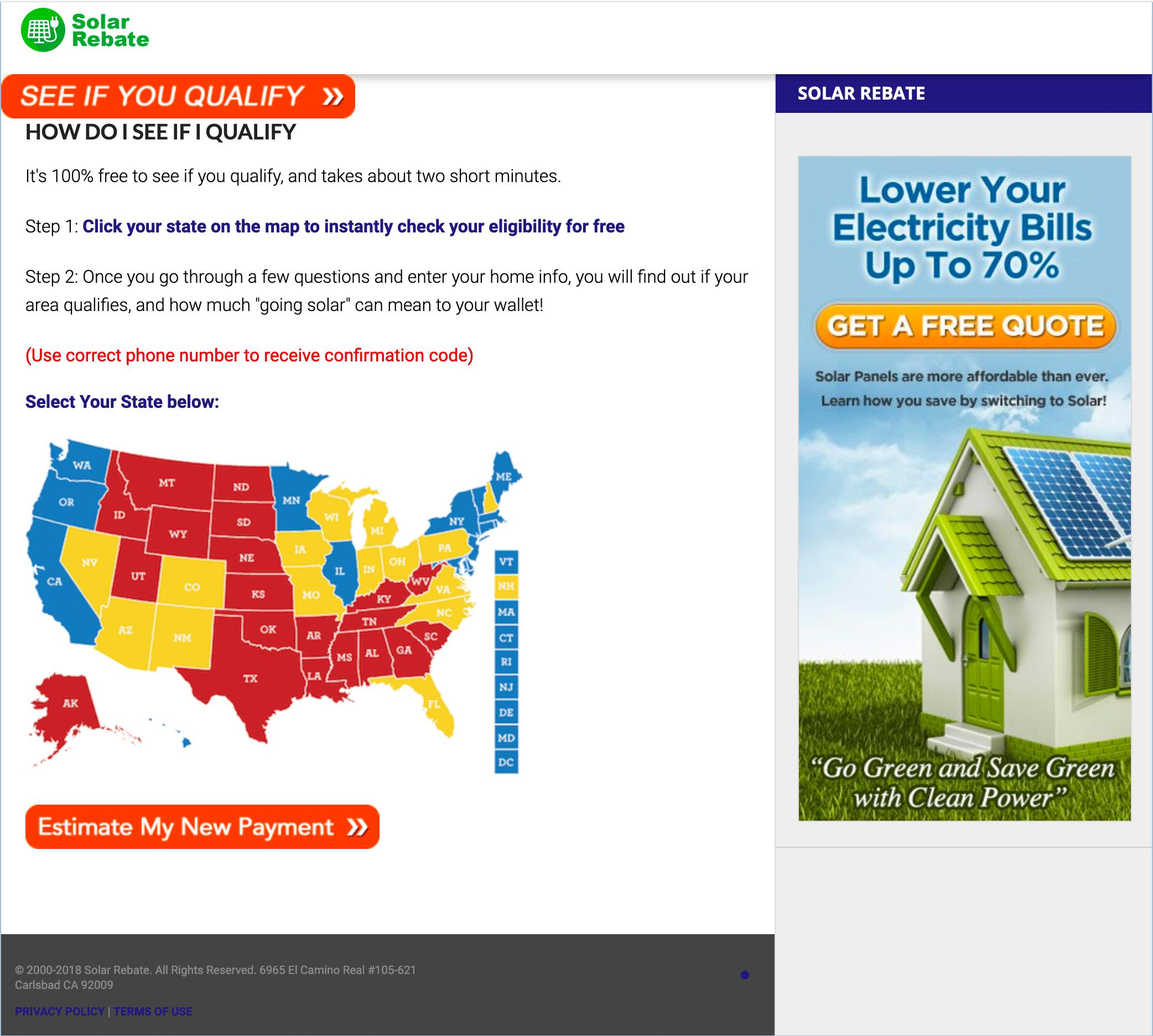 FILE - This March 27, 2019 image shows a website re-directed from ads promising big state tax incentives placed on Facebook. Hundreds of ads running on Facebook for more than a year promised that governors across the country had signed off on big tax breaks for U.S. homeowners who wanted to install new solar energy panels. But the tax incentives didn't exist. (Solar Rebate via AP)