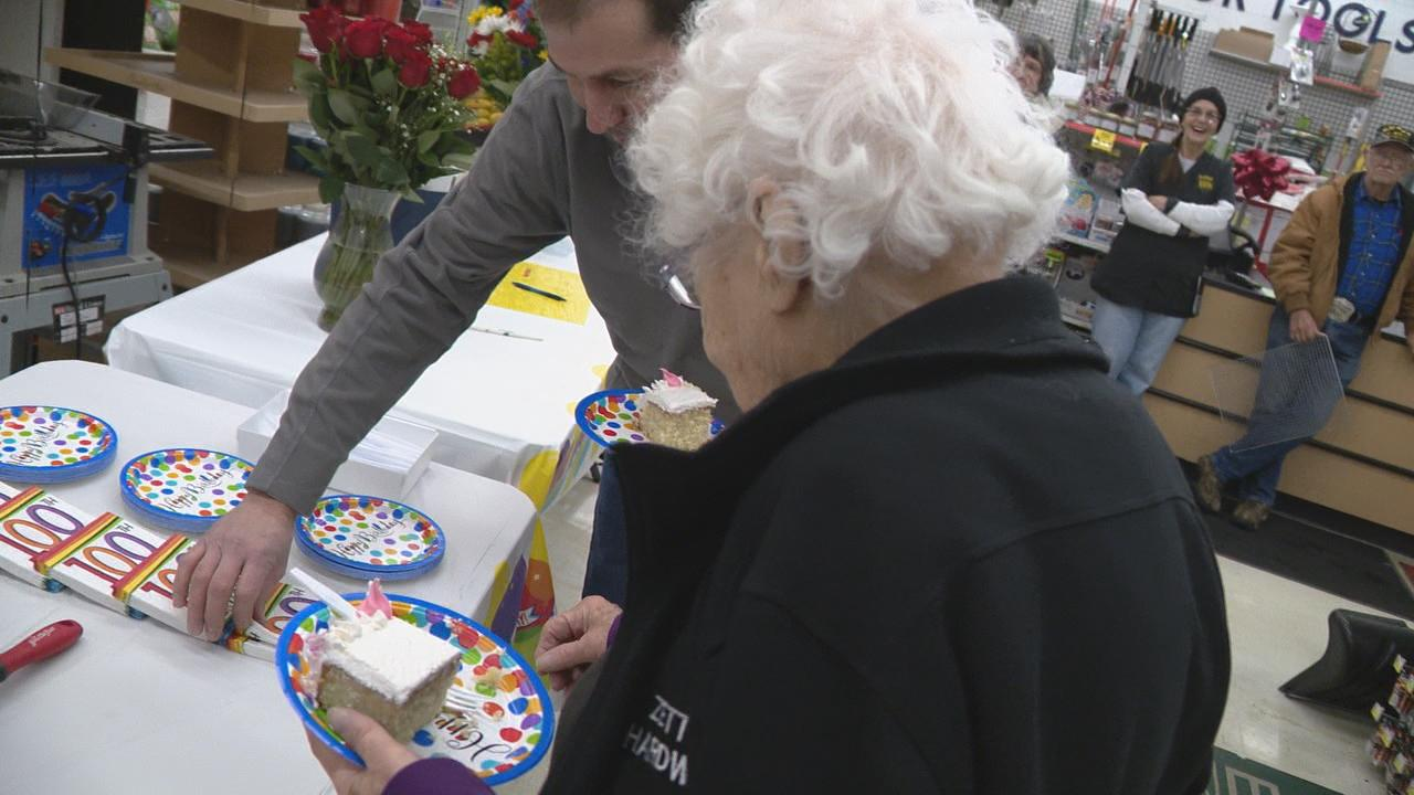 Millie Feasel celebrated her 100th birthday Tuesday on the job at Zettler Hardware in southwest Columbus, where she's worked for nearly 60 years (WSYX/WTTE)