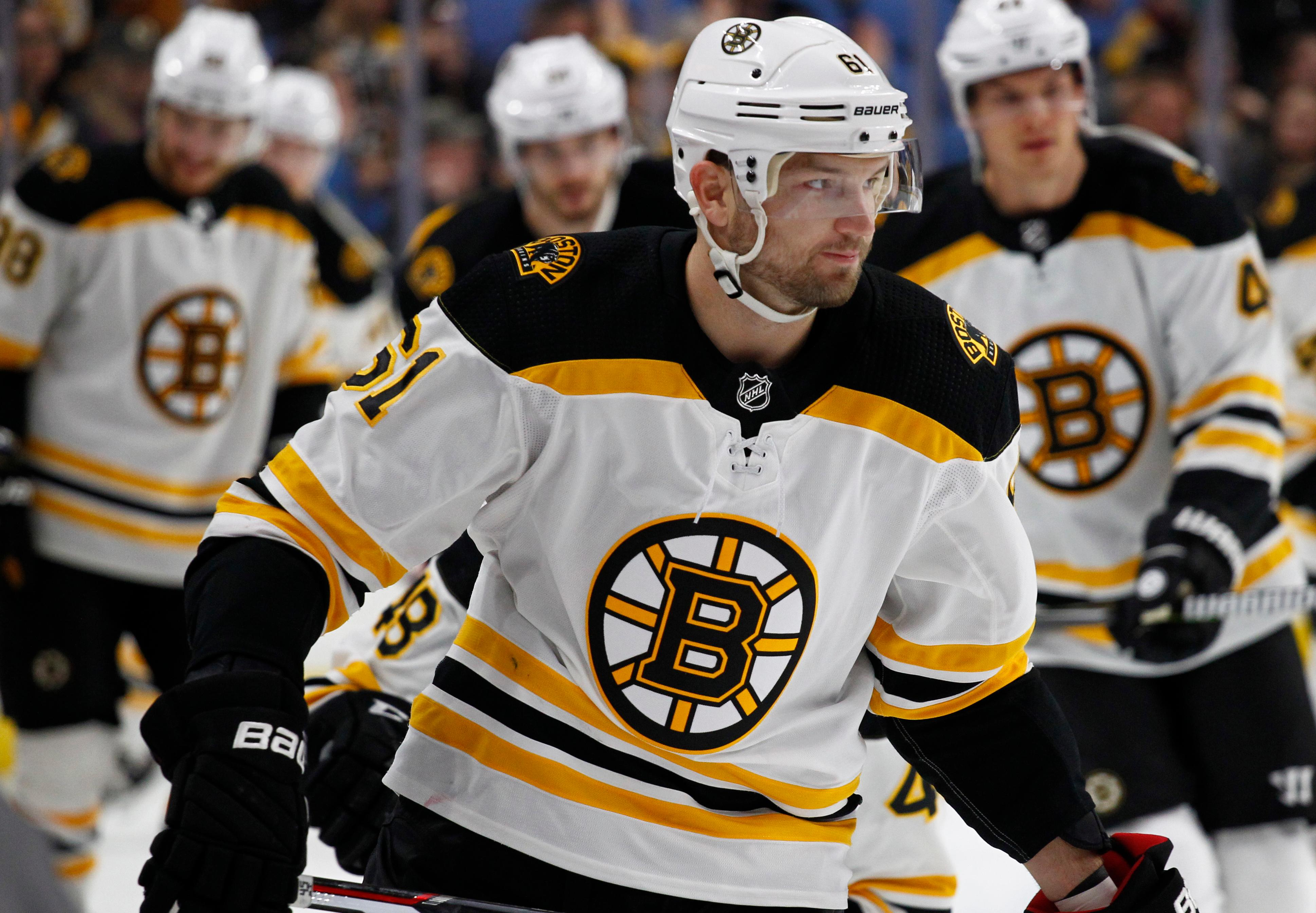Boston Bruins forward Rick Nash (61) skates during warm-ups prior to the first period of an NHL hockey game against the Buffalo Sabres, Sunday, Feb. 25, 2018, in Buffalo, N.Y. (AP Photo/Jeffrey T. Barnes)