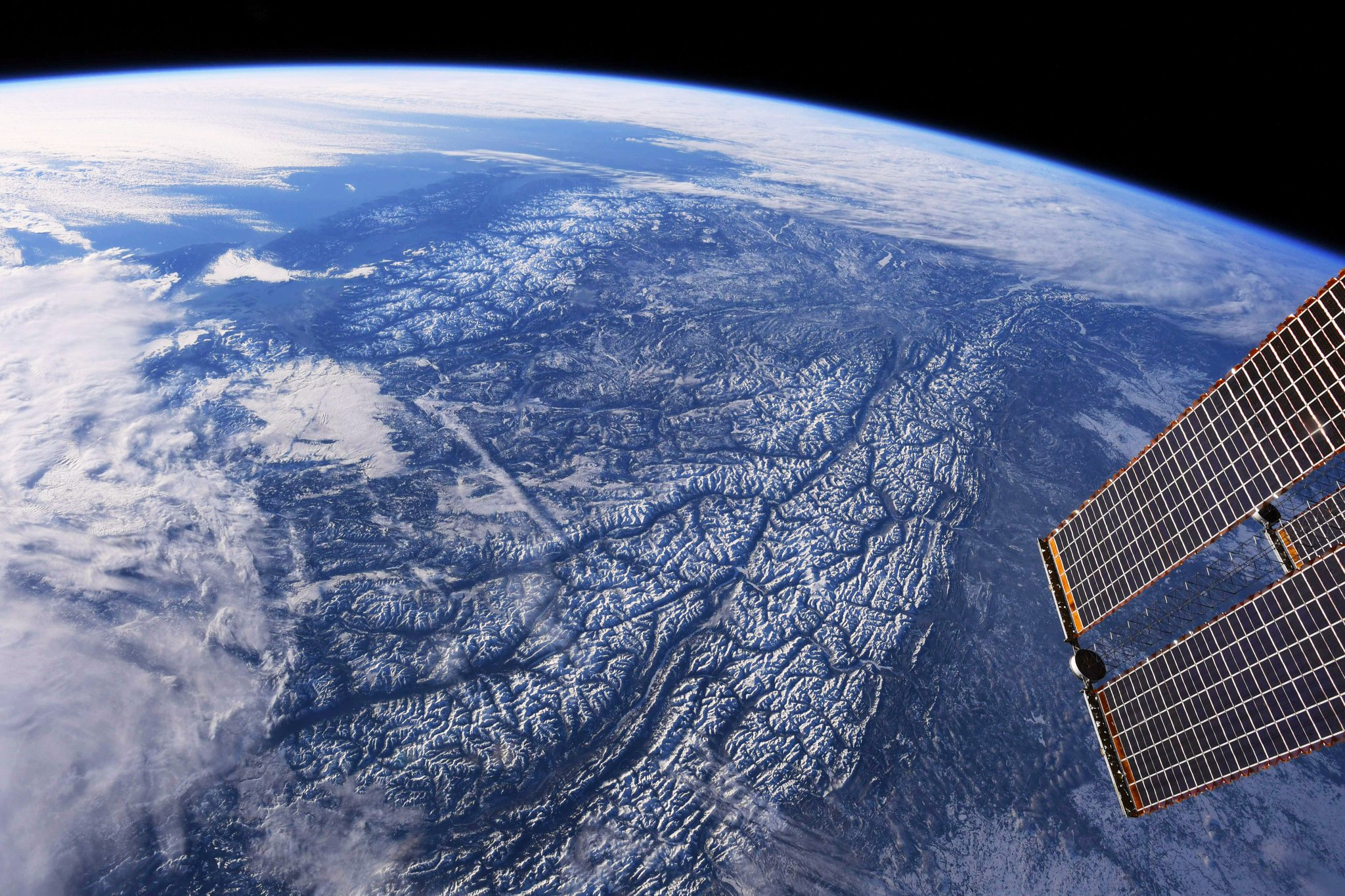 The Coast Mountains and the Rockies in the late afternoon winter light.  (Photo & Caption David Saint-Jacques, NASA)