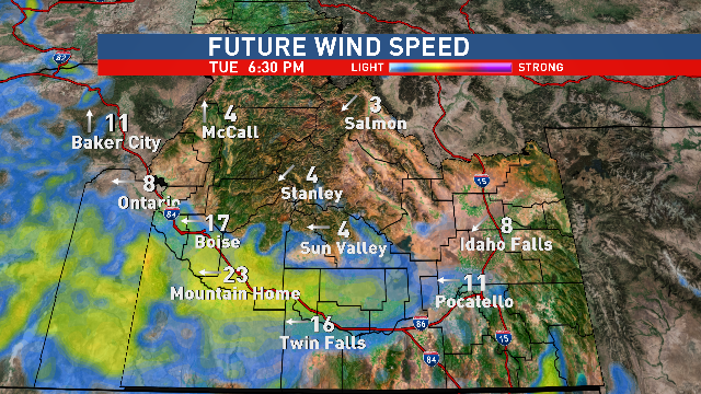 Wind Speeds Tuesday Afternoon.