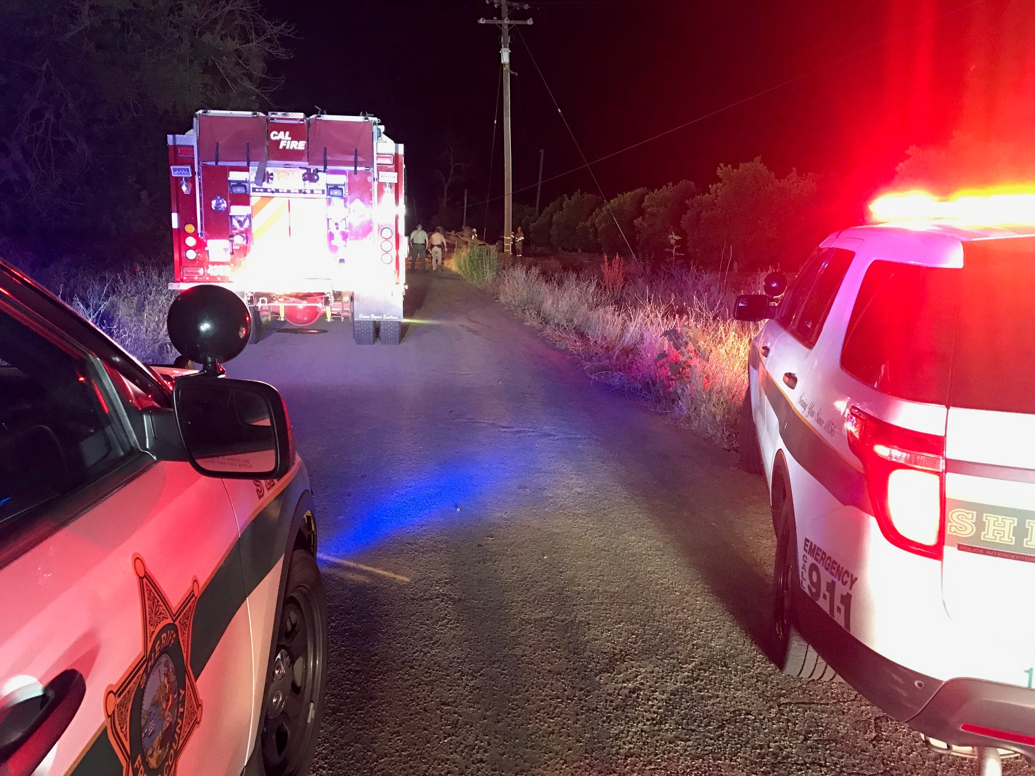 A woman died early Wednesday morning after crashing her pick-up truck into a pole in Reedley, according to the CHP. Photo: FOX26 News Photographer Ryan Hudgins