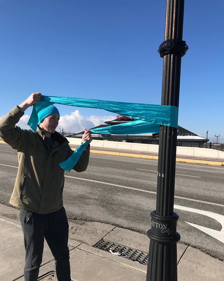 April is Sexual Assault Awareness Month and teal ribbons around Bountiful, Layton, and Kaysville are being tied around poles, doors and building pillars to raise awareness about what people can do to prevent sexual violence. (Photo: Safe Harbor Crisis Center)<p></p>
