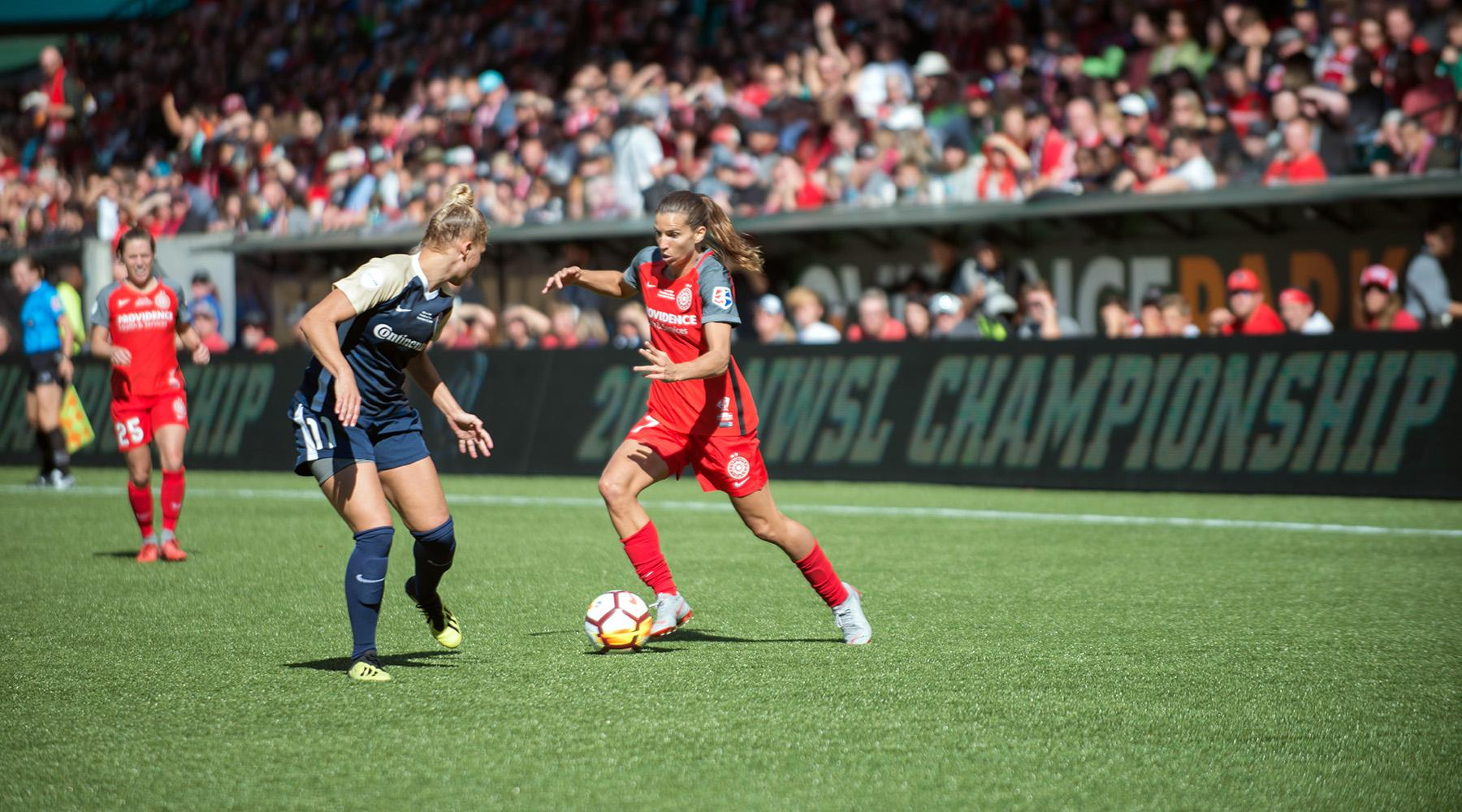 Looking to defend their 2017 title, the Portland Thorns played the North Carolina Courage Saturday in the 2018 National Women's Soccer League championship in front of a sold-out crowd at Providence Park. After a hard-fought match, the Courage took a 3-0 victory over the Thorns, becoming the 2018 champs. (KATU photo by Tristan Fortsch on September 22, 2018)